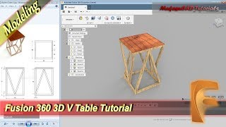Fusion 360 Design 3D V Table Basic Modeling Tutorial For Beginner