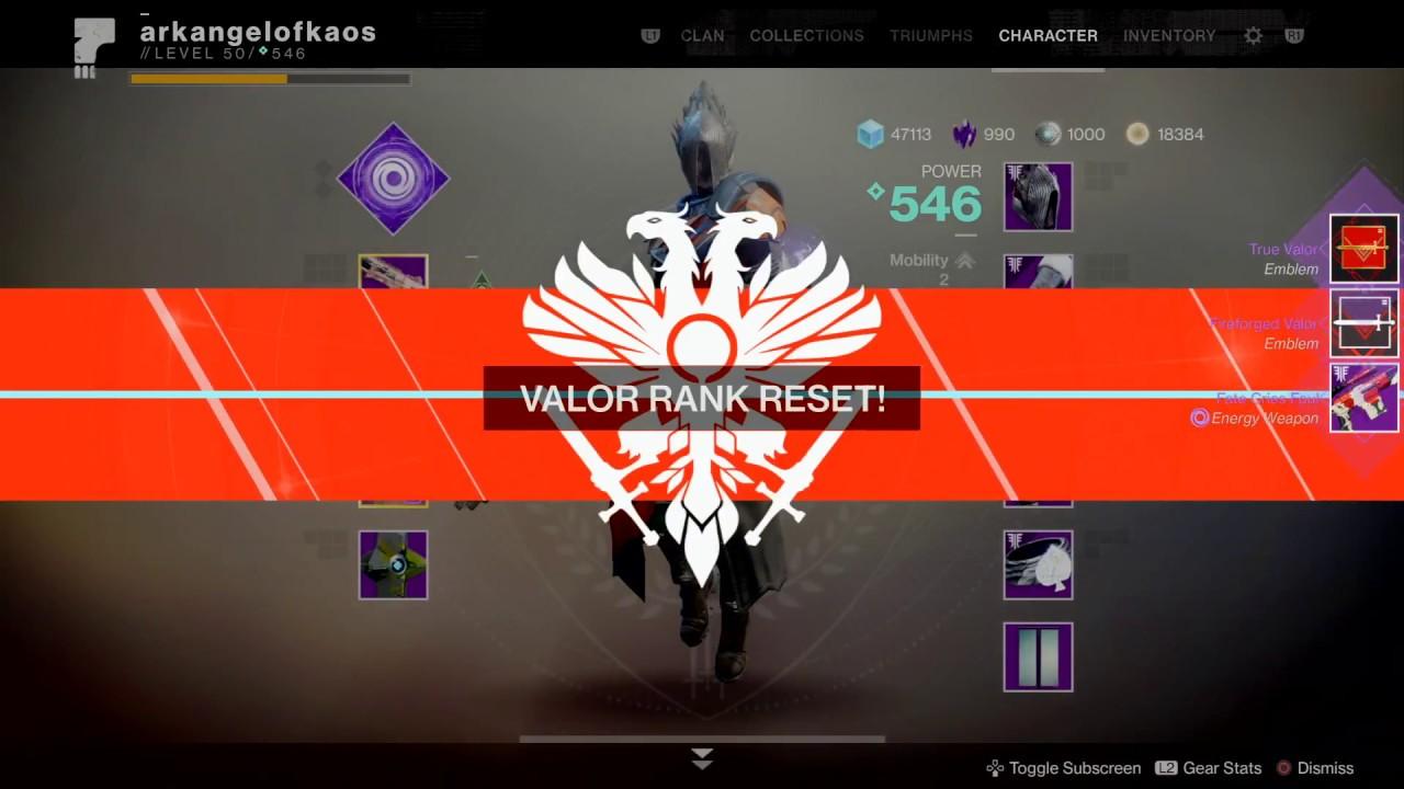 Reset Valor Rank - Season 4 (Destiny 2: Forsaken)