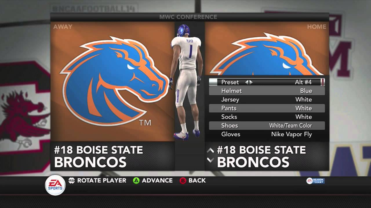 Ncaa Football 14 Boise State Uniform Options Youtube