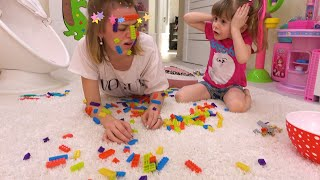 Eve and mom have fun with toys. The best series for children