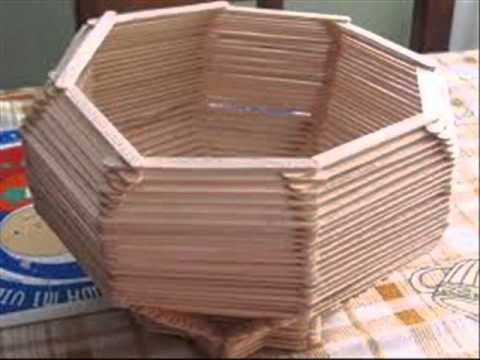 Manualidades con palitos de helado 2 youtube - Hacer manualidades con madera ...