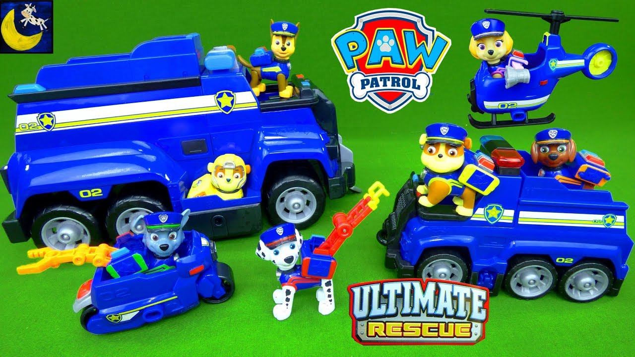 Paw Patrol Toys Ultimate Rescue Police Pups Toy Collection Mighty Pups  Chase Marshall Fire Truck Toy 36b1fb2b8bf3