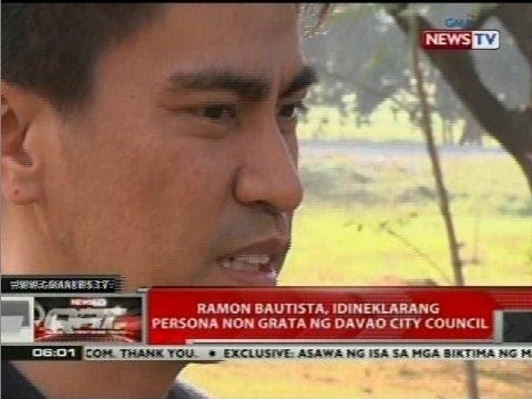 Ramon Bautista, idineklarang persona non grata ng Davao City Council