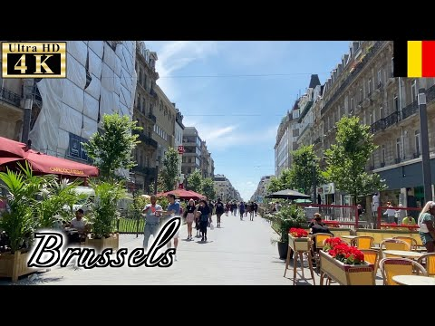🇧🇪Brussels Summer Walk - Boulevard Anspach -【4K 60fps】