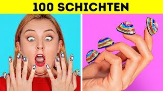100-SCHICHTEN-CHALLENGE! 100 Schichten Make-up! Vergraben unter 100+ Schichten mit 123 GO! CHALLENGE