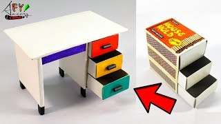 How To Make Matchbox Desk With Drawer | Hand Made Matchbox Craft | DIY Drawer From Matchbox |
