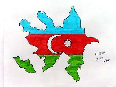 Azerbaycan Bayragini ve xeritesinin...