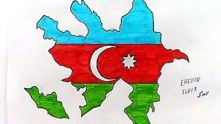 Azerbaycan Bayragini ve xeritesinin resmini nece cekmek lazimdir(Ehedov Elnur)draw flag Azerbaijan