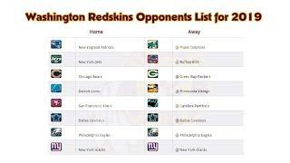 Washington Redskins Opponents List for 2019