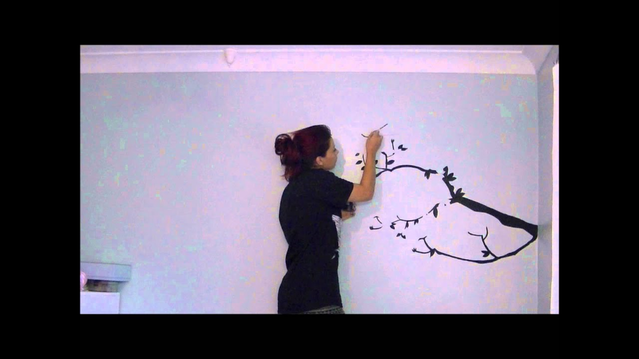 Cherry blossom tree wall mural amy pine youtube for Cherry blossom mural works
