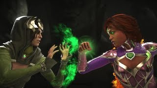 Injustice 2 : Enchantress Vs Starfire - All Intro/Outros, Clash Dialogues, Super Moves