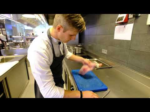 Chef Tim Boury Prepares A Seabass Dish At 2 Michelin Star Restaurant Boury, Roeselare, Belgium