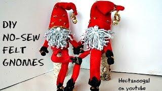 DIY: لا خياطة شعرت التماثيل, كيفية جعل قزم لطيف الأرقام, زينة عيد الميلاد