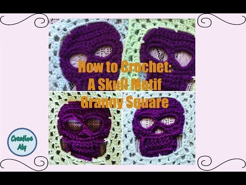 How To Crochet A Skull Motif Granny Square Youtube