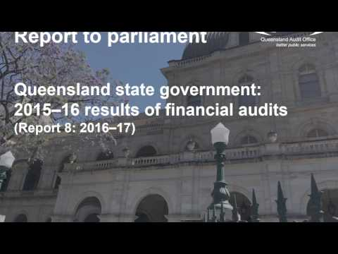 Queensland state government: 2015–16 results of financial audits (Report 8: 2016–17)