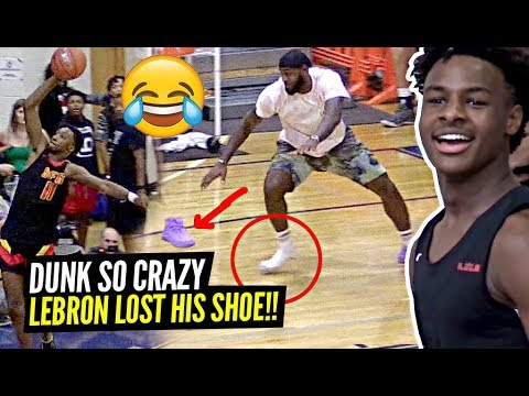 Mani Millss - Lebron James Celebrates Too Hard and Loses Shoe After Son's Alley-Oop!