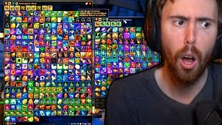 Asmongold Shows All The  Tems He Has Collected Over The Years Playing World Of Warcraft