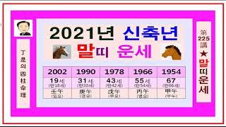 2021년 말띠 운세- 정시의 사주명리225강-신축년 2021년 말띠운세입니다.