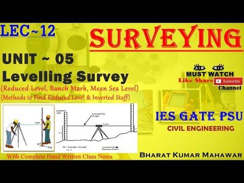 Surveying~ Lec 12~U5~ Levelling Survey (R.L, B.M, M.S.L, B.S, F.S &  I.S) by Bharat Kumar Mahawar
