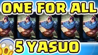 THE CRAZIEST GAME MODE EVER!! NEW ONE FOR ALL 5 YASUOS | WINDWALL ENTIRE LANE | THE WAY OF THE YASUO