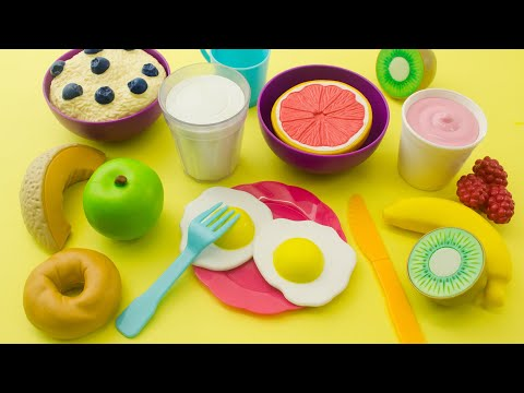 Learn names of breakfast food | Kitchen toy playset with toy dishwasher for toddles and preschoolers