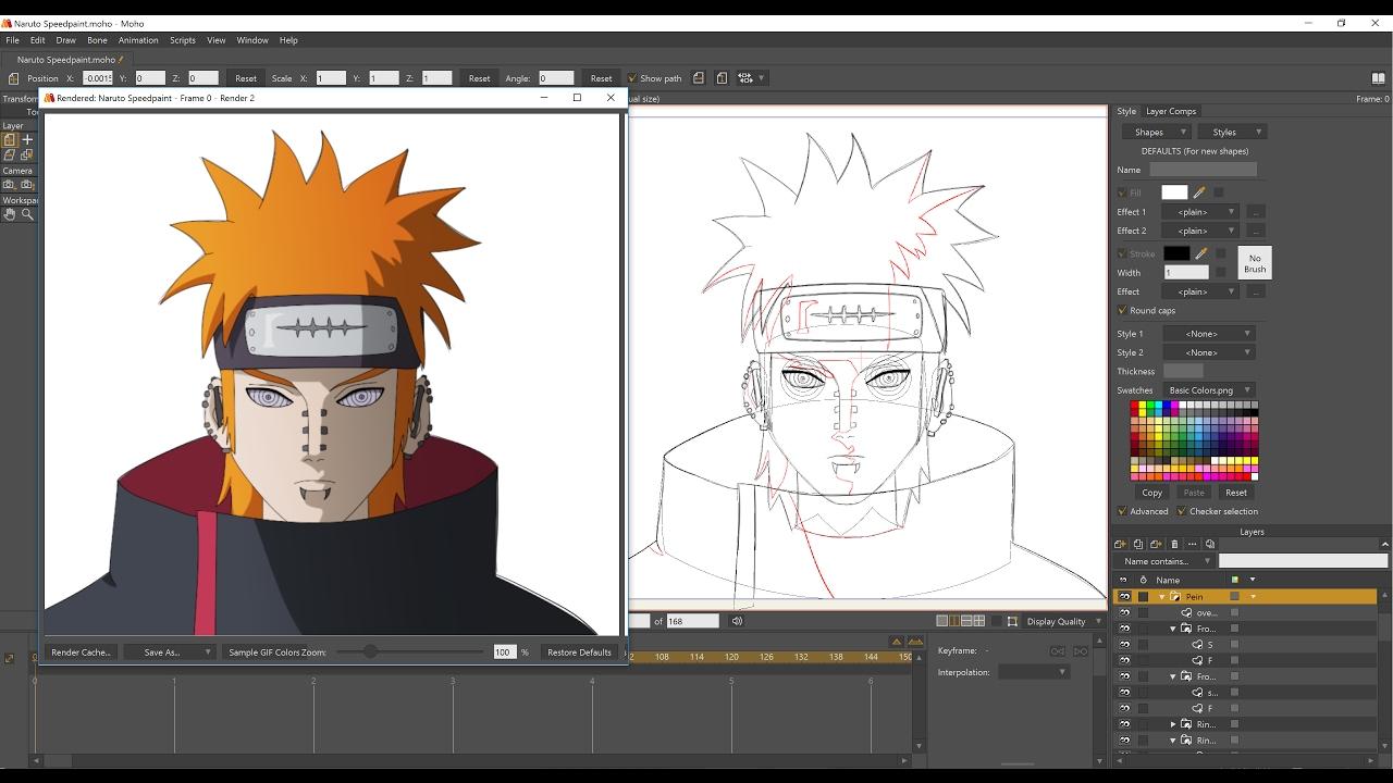 Naruto pein speedpaint in anime studio pro moho pro 12