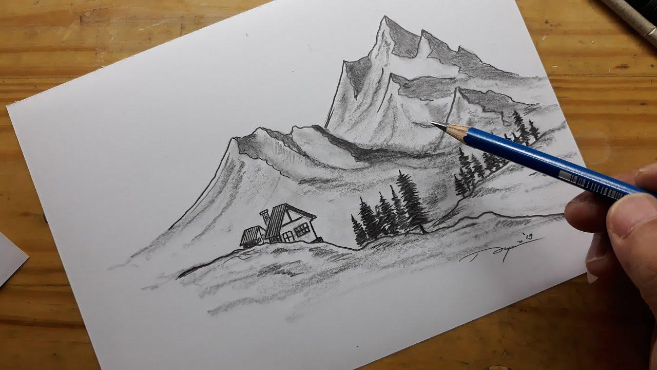 Cara Menggambar Menggambar Pemandangan Pegunungan Menggunakan Pensil Dengan Mudah Youtube