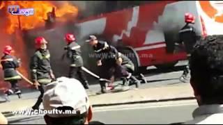 حريق مهول يندلع في حافلة لنقل المستخدمين بالجديدة