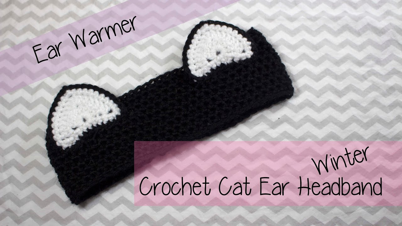 👒 ✂✂ Cat Ear Winter Ear warmer headband Crochet tutorial ...
