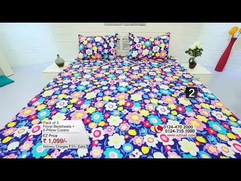 Pack of 3 Floral Bed Sheets + 6 Pillow Covers