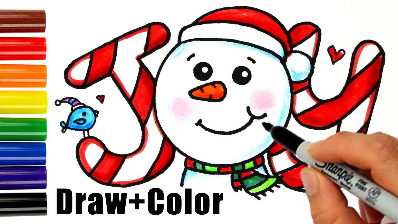 how to draw color snowman joy in bubbble letters step by step