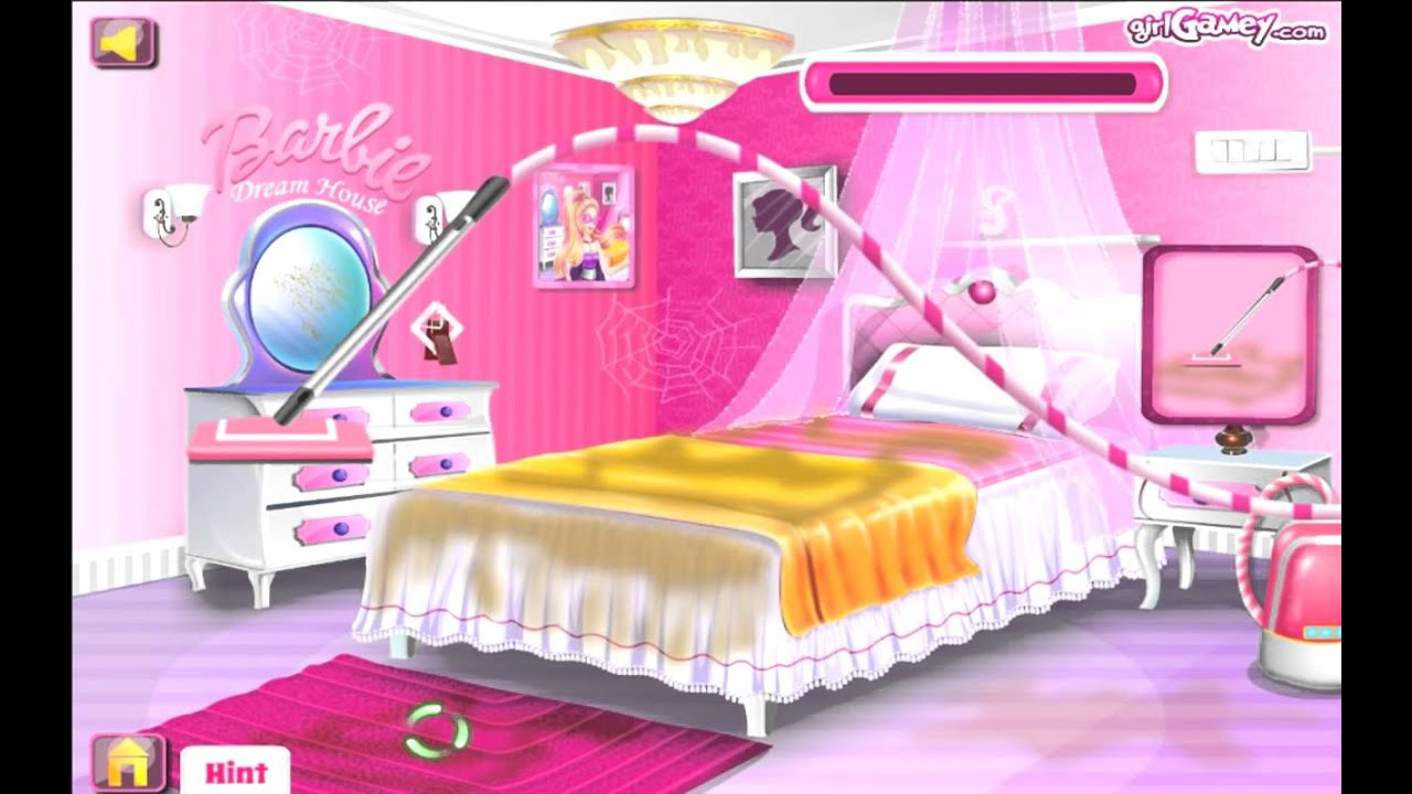 super barbie groom the room cleaning games for girls - youtube