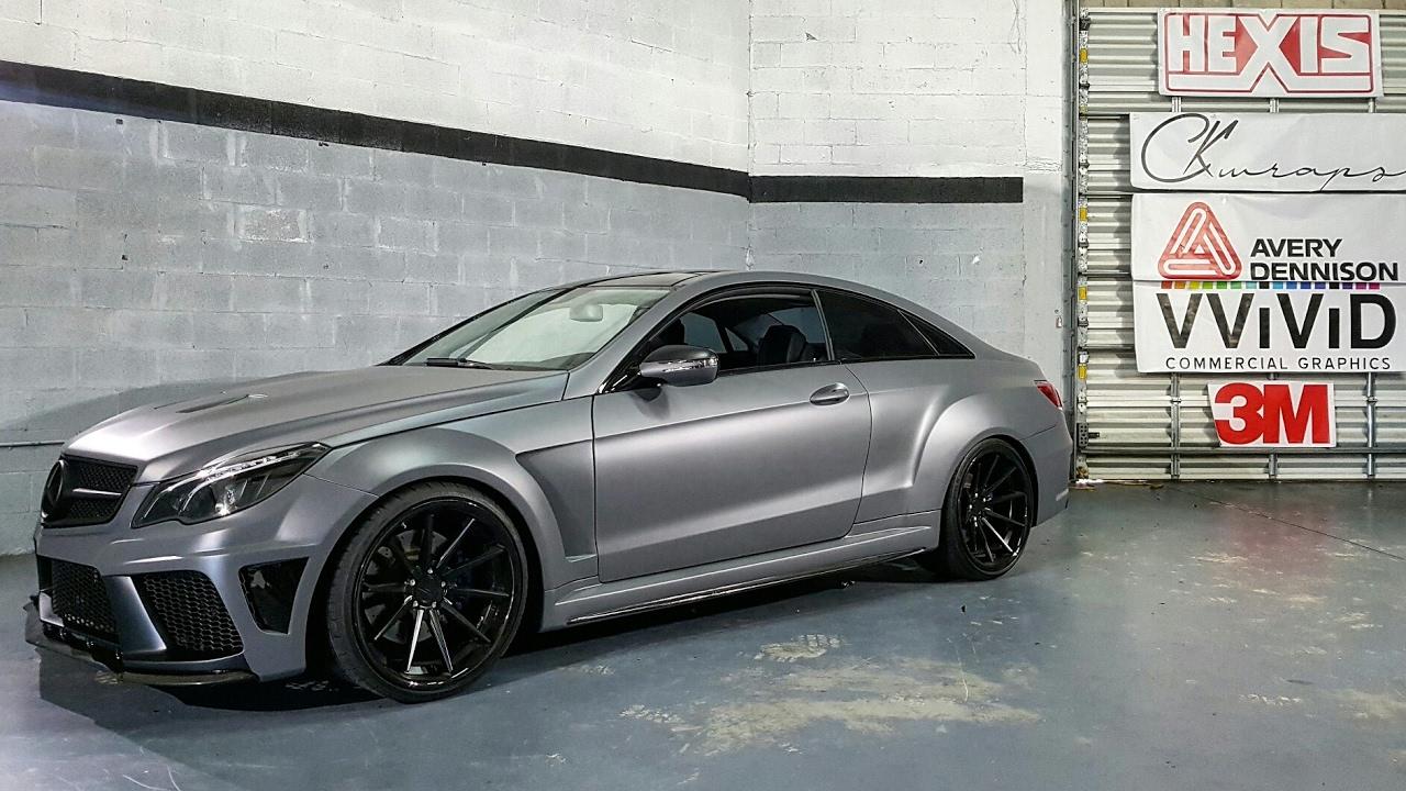 Custom Widebody Mercedes E550 Wrapped In Matte Slate Grey