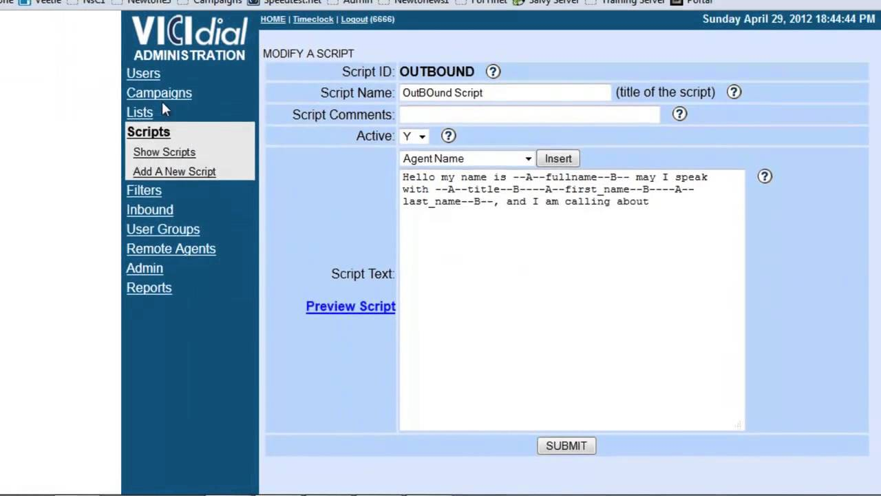 How to: Vicidial Configure Scripts by ALG Support