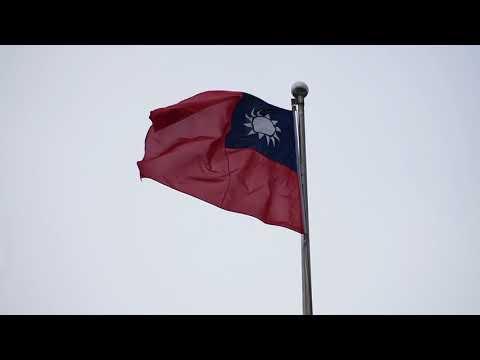 Taipei, Taiwan - Taiwanese Flag at Liberty Square Freedom Square HD (2017)