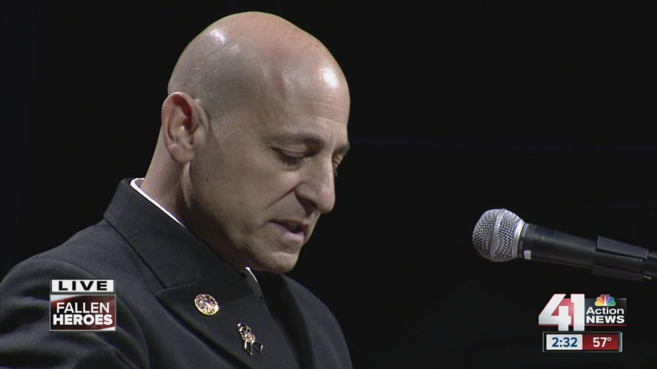 Kansas City Fire Department Chief Paul Berardi speaks at Oct. 17 memorial for Larry Leggio and John