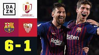 Lionel Messi dirigiert Barca ins Halbfinale: Barcelona - Sevilla 6:1 | Copa del Rey | Highlights