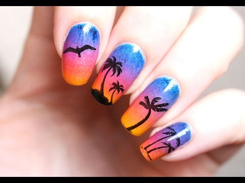 nail art d grad coucher de soleil et palmiers youtube. Black Bedroom Furniture Sets. Home Design Ideas