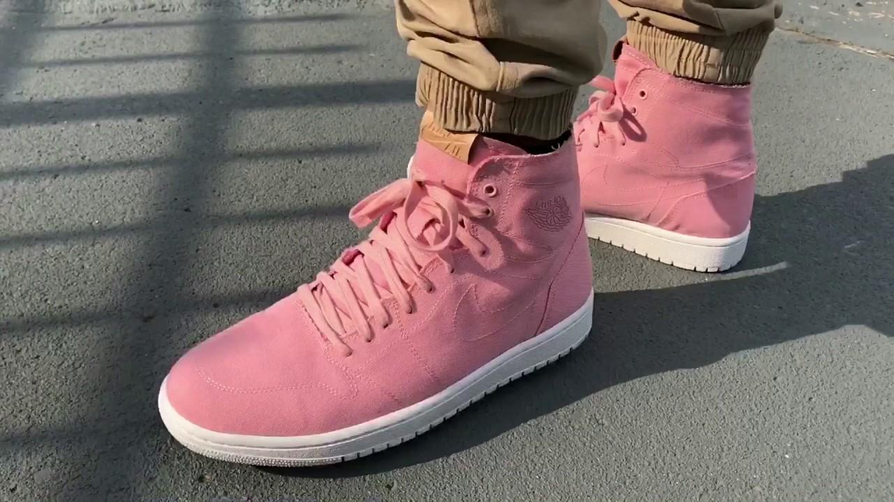purchase cheap a3462 8f453 Pink Air Jordan 1 High Deconstructed On Feet