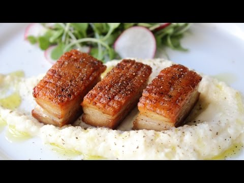 Pork Belly with Celery Root Puree - Crispy Pork Belly Recipe