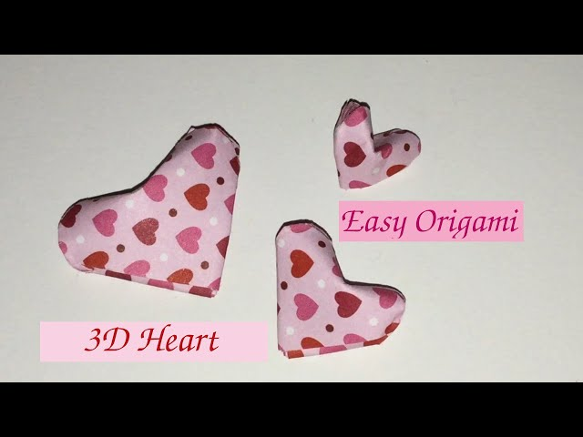 How to Fold Easy 3D Origami Lucky Hearts, Tutorial for Beginners, Mother's Day Crafts