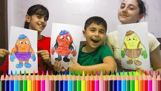 Guka and his Sisters Pretend Play✏️Three Pencil Challenge✏️with Humpty Dumpty and Mickey Mouse