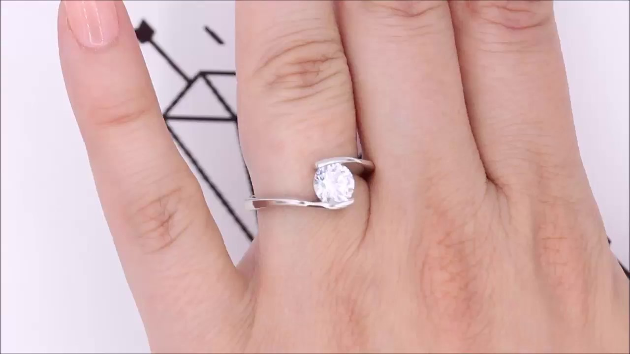 Half Bezel Forever One Moissanite Engagement Ring - Tasha - YouTube