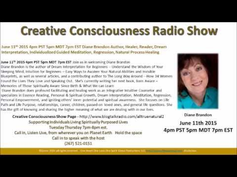 Creative Consciousness Radio with Diane Brandon: Author June 11th 2015 N. Carolina