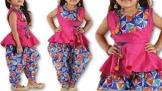 DIY Fancy traditional festive wear 3 year baby girl dhoti kurta cutting stitching