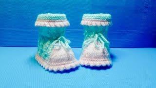 Вязание спицами пинетки #116