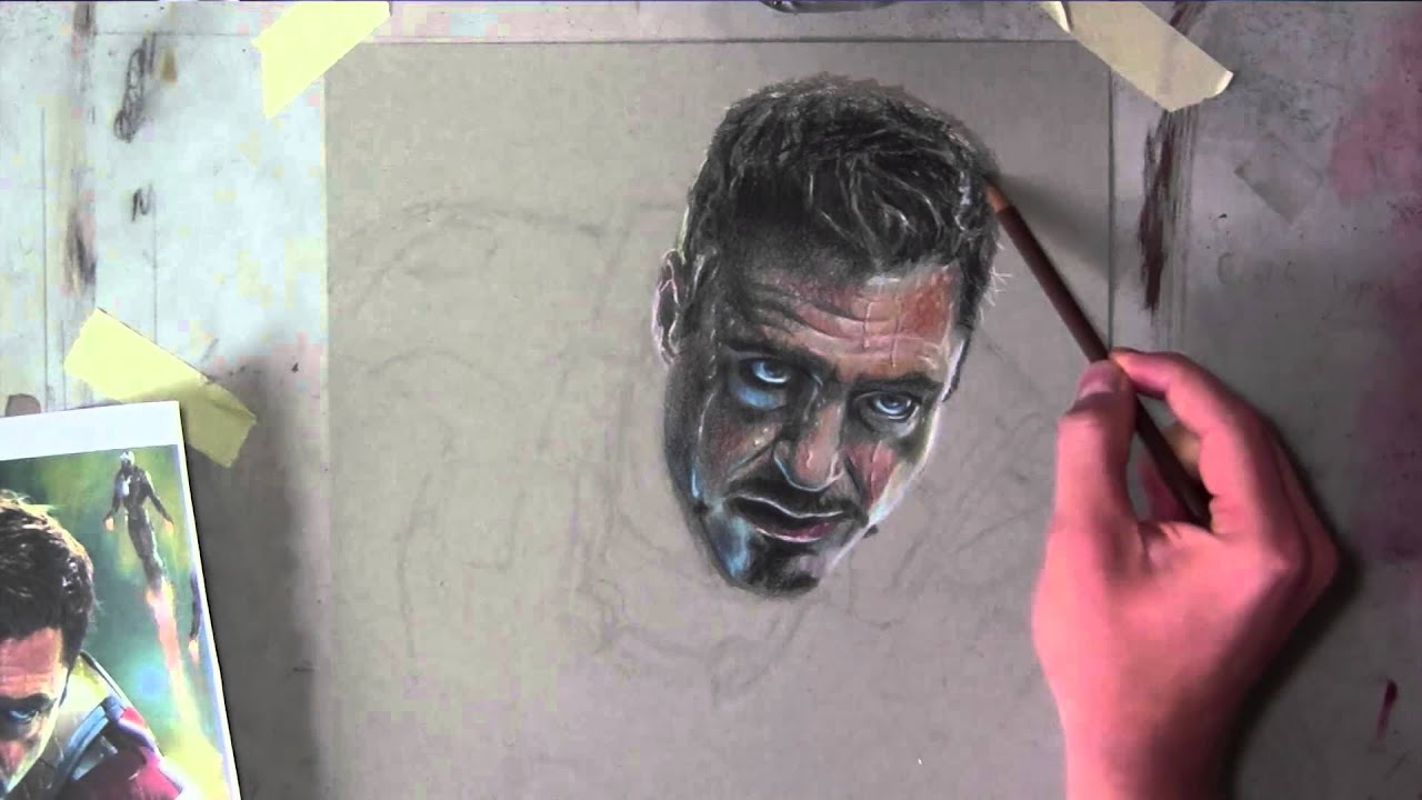 awesome iron man portrait in colored pencil youtube