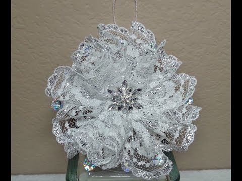 DIY~ Make A Gorgeous And EASY Lace Snowflake Flower Ornament!