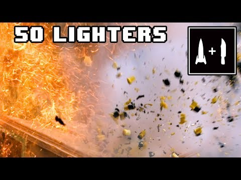 Rocket Knife cuts 50 lighters (Fire + Awesome slow motion!)