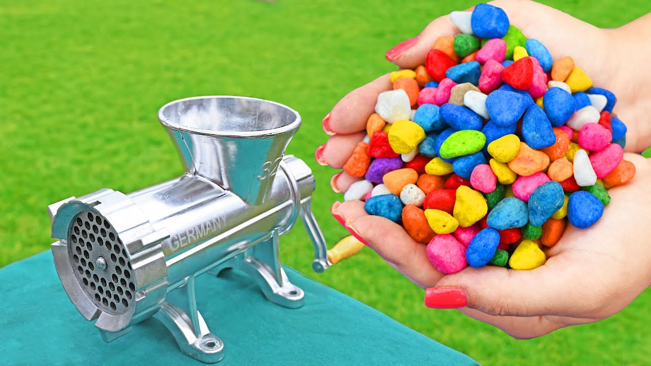 EXPERIMENT COLORFUL STONES VS MEAT GRINDER